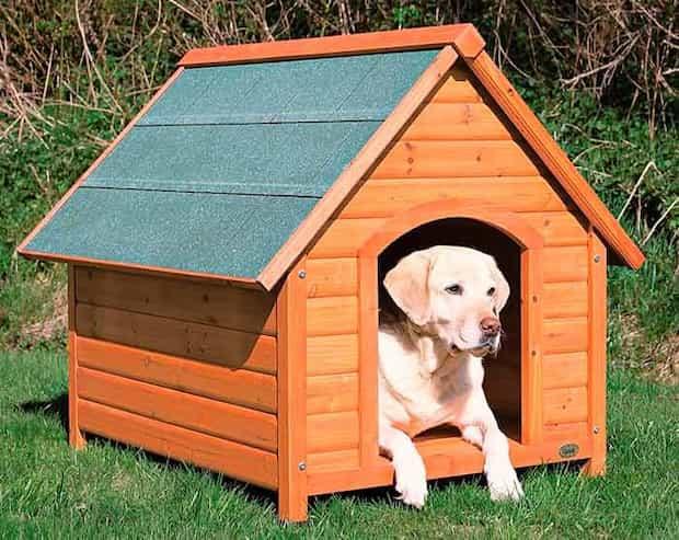 Caseta para perros para instalar en el jadín de madera