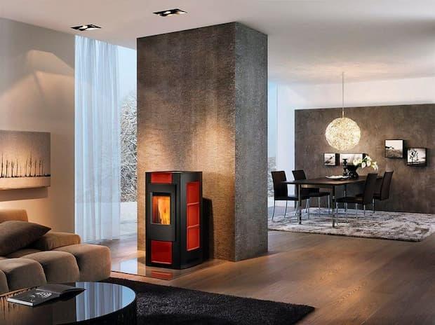 Estufa de pellets roja y negra - Diseño especial